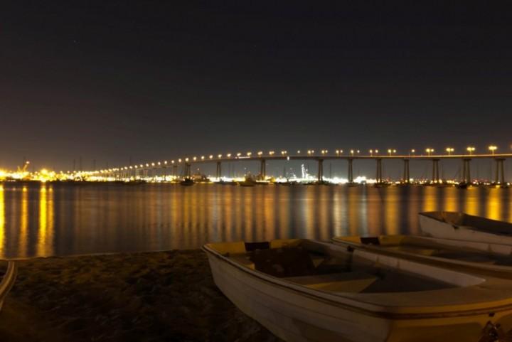 Мост Коронадо - Сан-Диего в вечернее время