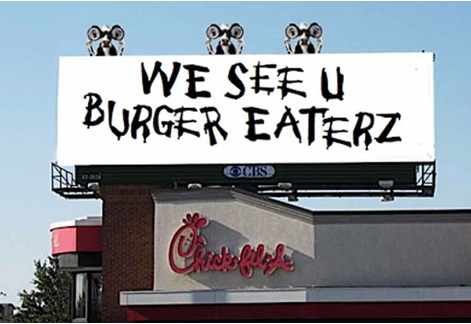Креативная реклама. Eat more chicken cows. We see u burger eaterz