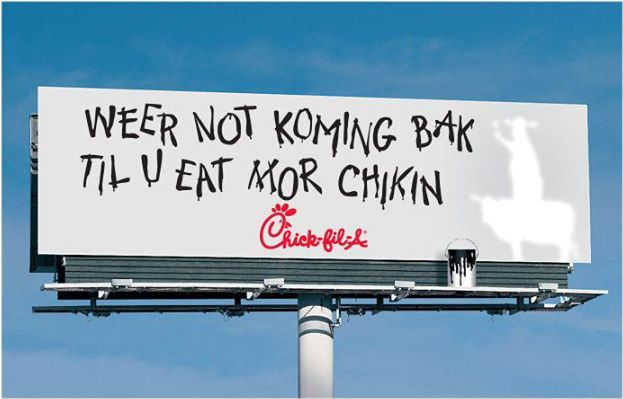 Креативная реклама. Eat Mor Chikin Cowz. Weer not koming bak til u eat mor chikin