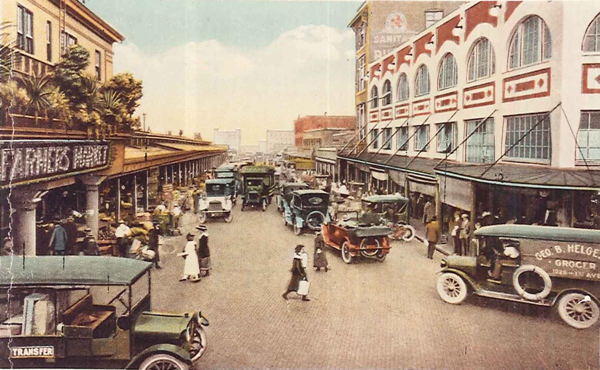 Пайк Плейс Маркет на старой почтовой открытке